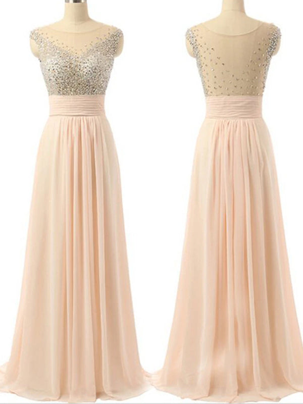 Elegant Cap Sleeve Chiffon A-line Charming Evening Prom Dresses,PD0181
