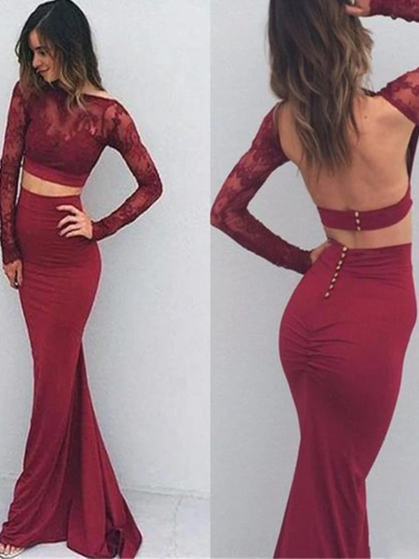 Elegant Burgundy Two Pieces Backless With Long Sleeve Mermaid Lace Prom Dresses. PD0202-1
