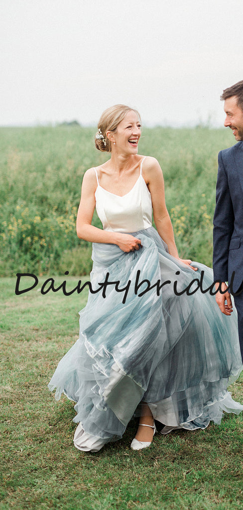 Simple V-neck Spaghetti Strap A-line Tulle Long Wedding Dresses Evening Dresses.DB10714