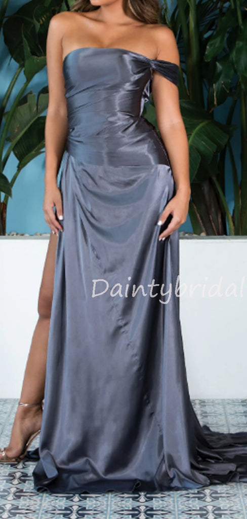 Sexy Straight Side Slit A-line Zipper Up Long Evening Dresses Prom Dresses.DB10512