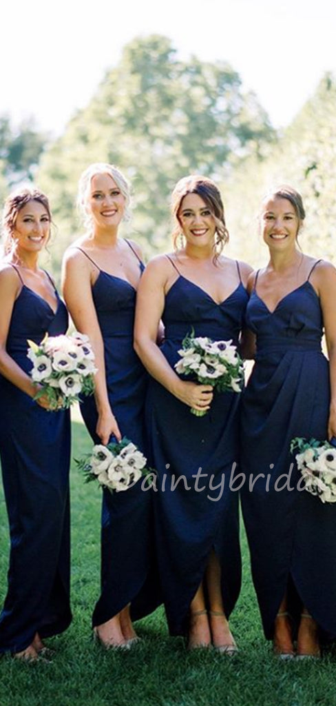Charming V-neck High-low Floor Length Bridesmaid Dresses.DB10462