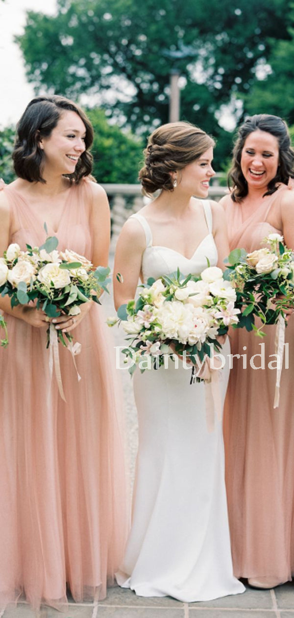Sexy V-neck Tulle Floor-length Long Bridesmaid Dresses.DB10647