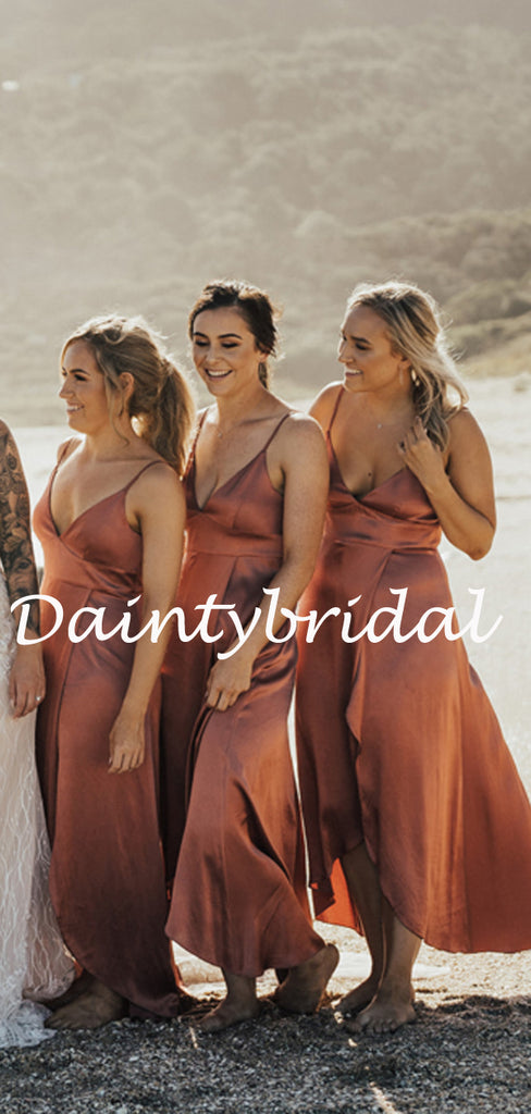 Sexy V-neck Spaghetti Strap Simple Side Slit Long Bridesmaid Dresses.DB10761