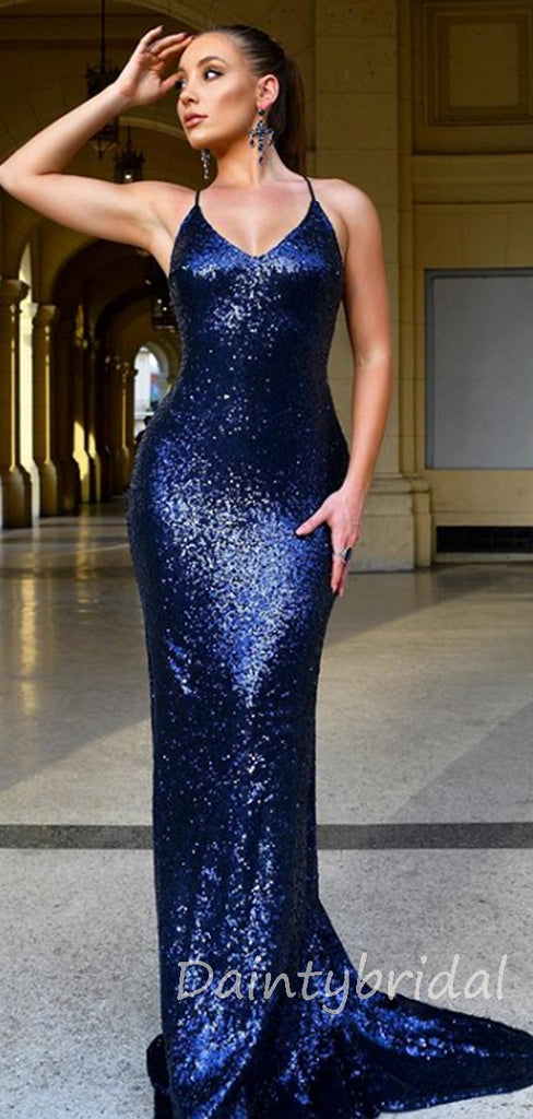 Charming V-neck Mermaid Sequin Open Back Long Prom Dresses Evening Dresses.DB10372
