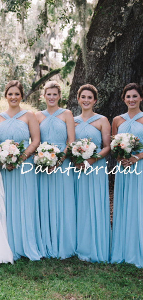 Charming Lace up Back Sleeveless Floor-length Long Bridesmaid Dresses.DB10748