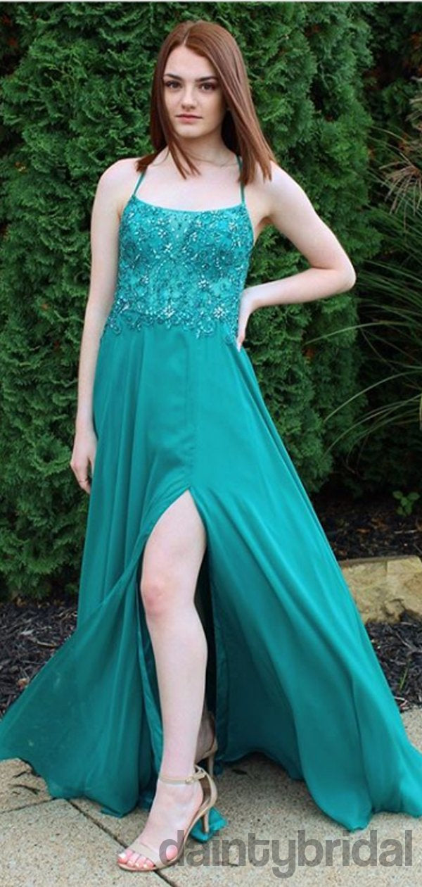 A-line Chiffon Floor Length Long Prom Dresses Evening Dresses.DB10252