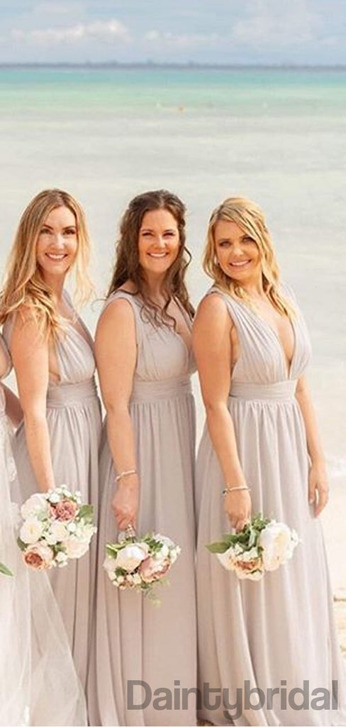 Sexy V-neck A-line Chiffon Side Slit Bridesmaid Dresses.DB10295