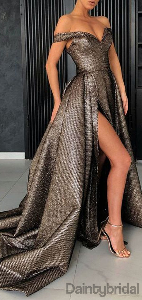 Sexy Off Shoulder A-line Prom Dress,Long Evening Dress with High Split Dresses.DB10122