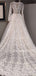 Gogerous V-neck Vintage Tulle Lace Long Sleeves A-line Wedding Dresses With Long Train.DB10402