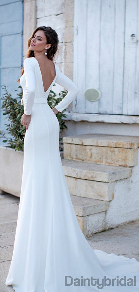 Mermaid Scoop Neck Long Sleeve Long Prom Dresses With Train.DB10202