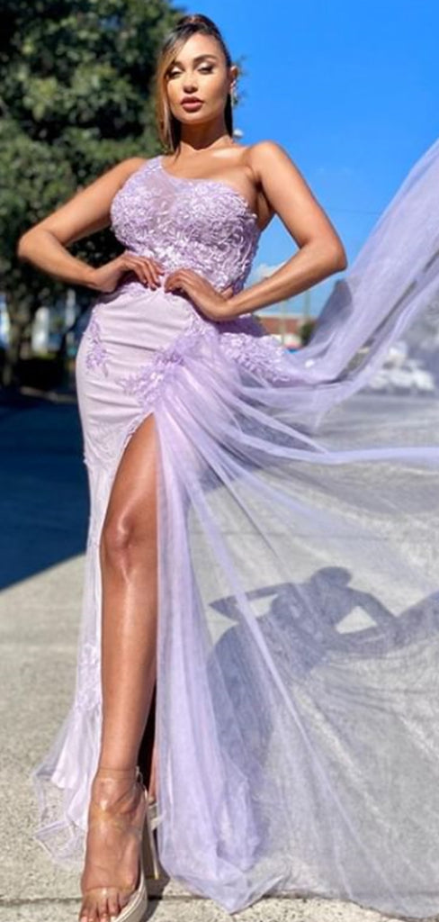 Sexy Backless Mermaid Lace Tulle Side Slit Formal Prom Dresses, PD0150