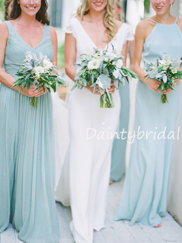 New Arrival Sleeveless Floor-length Chiffon Long Bridesmaid Dresses.DB10562