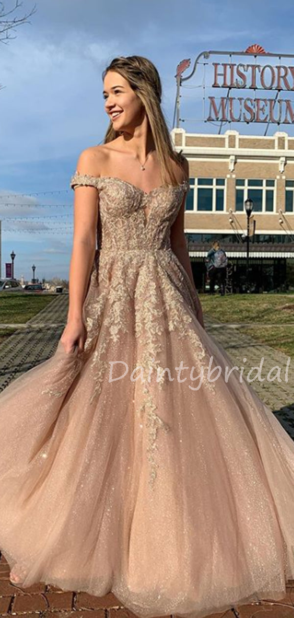 Charming Off-shoulder A-line Tulle lace Long Prom Dresses Evening Dresses.DB10606