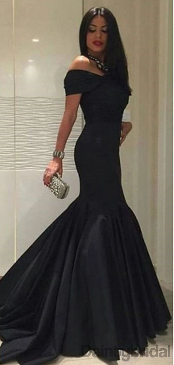 Off-shoulder Mermaid Satin Long Prom Dresses.DB10199