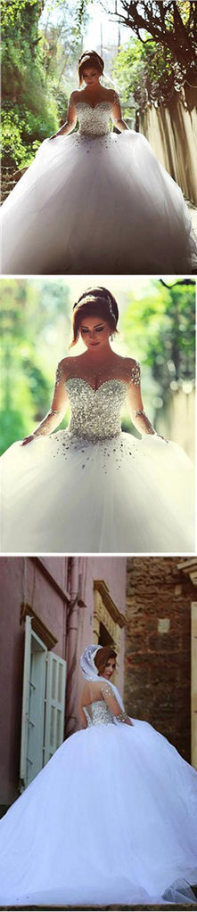 Gorgeous Long Illusion Sleeve Beads Rhinestone Lace Up Back Ball Gown Wedding Dress, WD0200