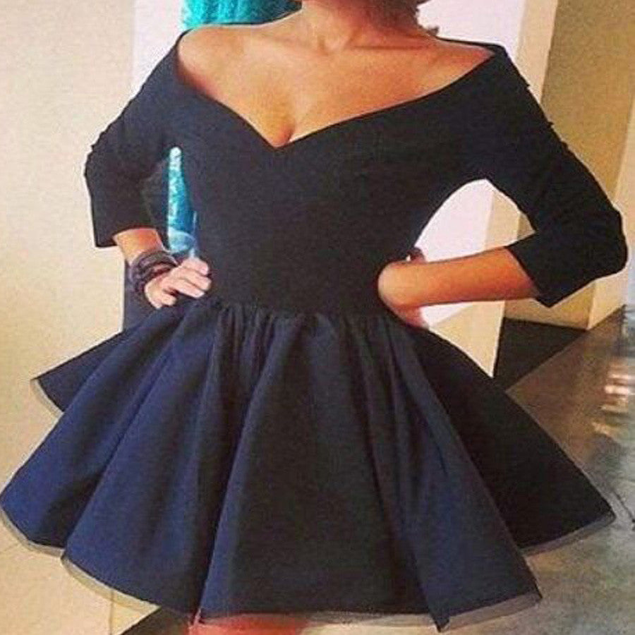 Hot Selling Long sleeve black off shoulder simple v-neck A-line for teens homecoming prom dress,BD00200
