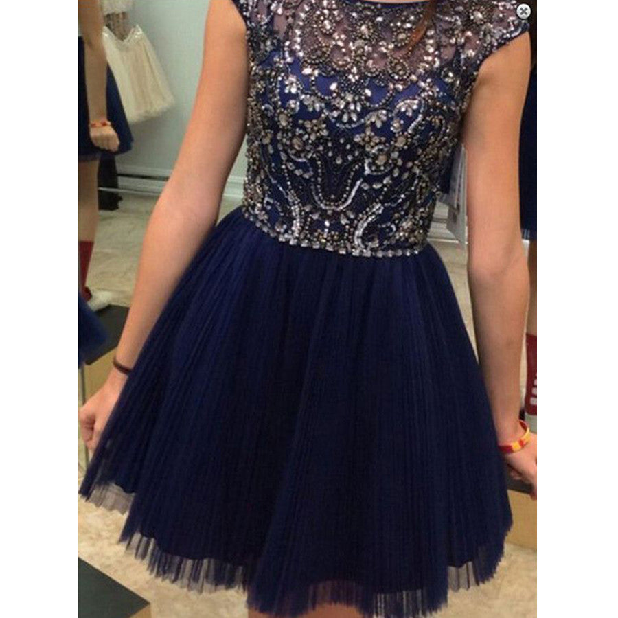 Cap Sleeve Sparkly Rhinestone Sequins Clairvoyant Outfit Homecoming Prom Gown Dress,BD00100