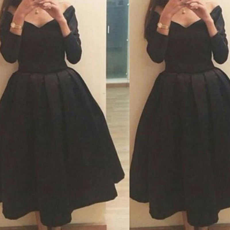 Elegant Long Sleeve Black Off Shoulder Simple V-neck Tea-Length Homecoming Prom Dress,BD0033