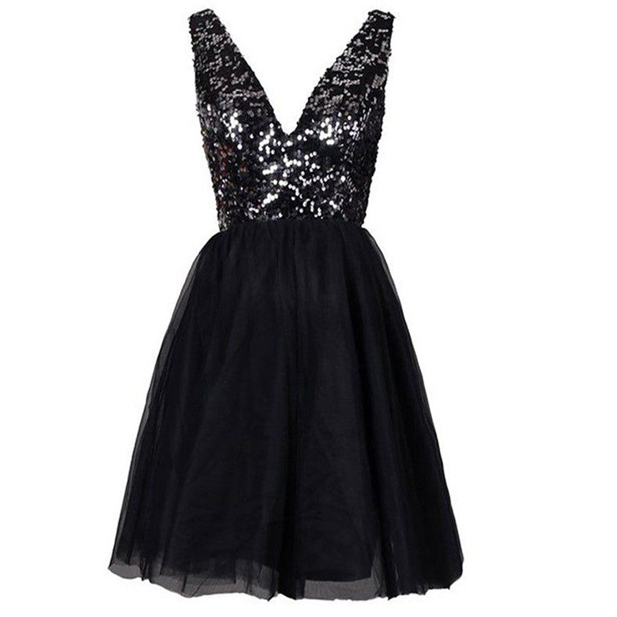 Sexy Clairvoyant Outfit Sparkly Sequined  Open Back Deep V-neck  Evening Cocktail Homecoming Prom Dress,BD0051