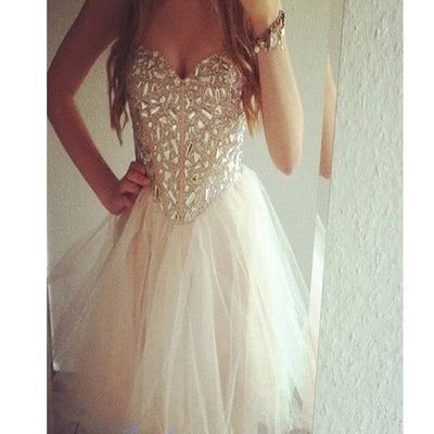 Hot Sale Strapless Rhinestones Sparkly Evening Party Cocktail Homecoming Prom Dress. BD00199