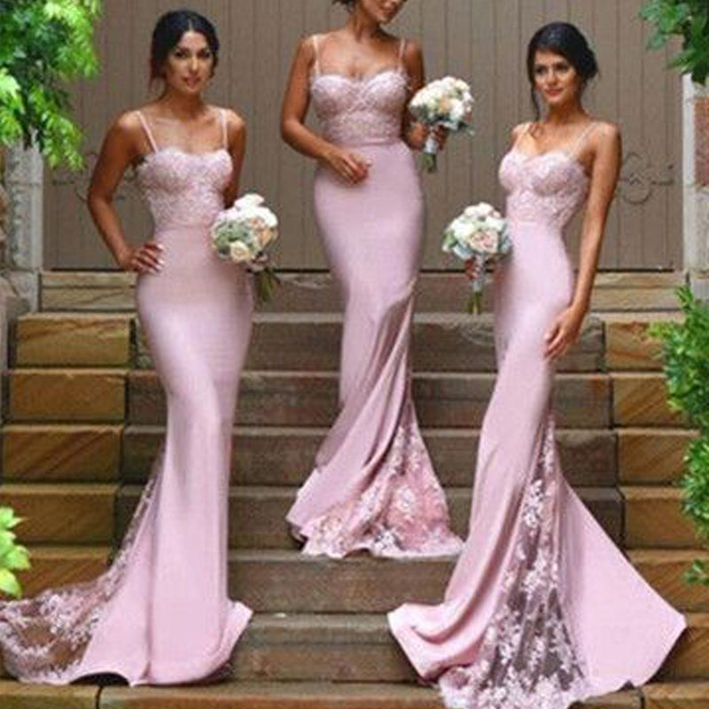 New Design Sexy Spaghetti Strap Mermaid Sweetheart Lace Chapel Trailing Long Bridesmaid Dresses, WG08
