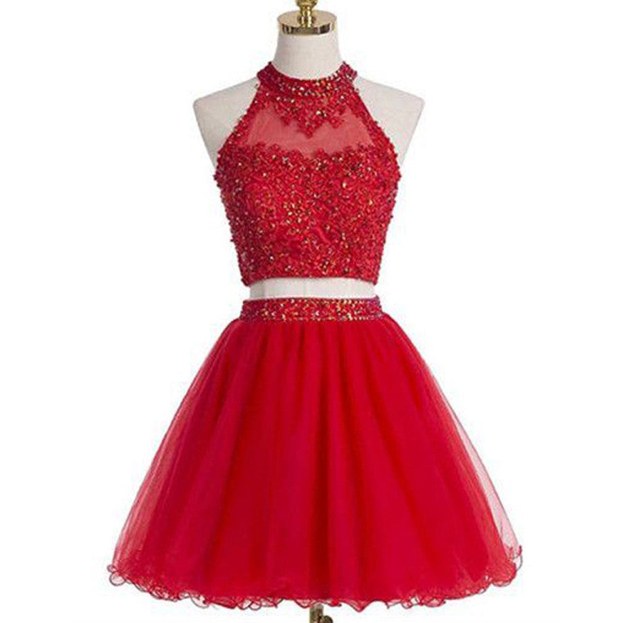 Two Pieces Halter Blush Red Bare-midriff Lace Beads Sparkly Keyhole Back Homecoming Prom Dress,BD0020