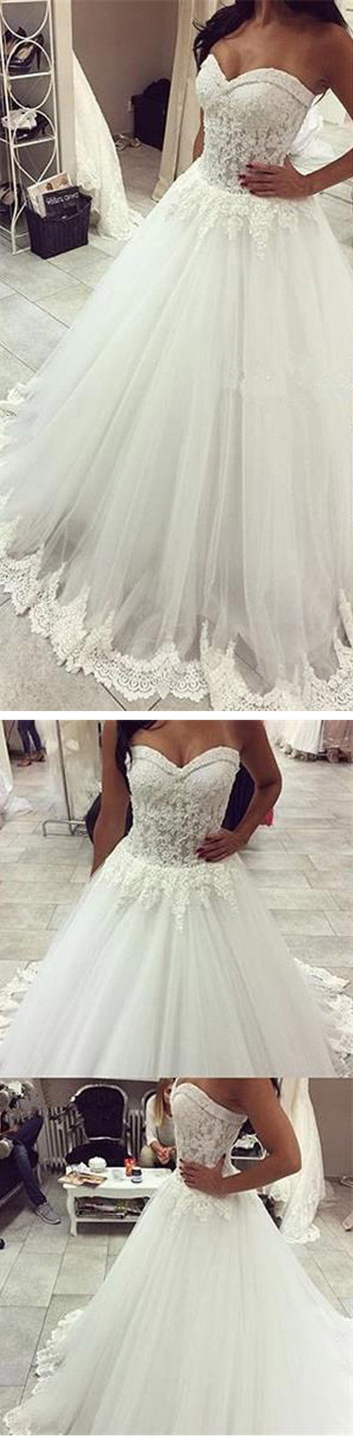 Vintage Strapless Sweetheart Lace Top Tulle Ball Gown Floor Length Wedding Party Dresses, WD0021
