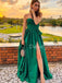 Charming Sweetheart Side Slit Satin A-line Long Prom Dresses Evening Dresses.DB10560
