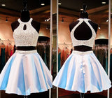 Two Pieces Sexy Bare-midriff Beads Halter Open Back Short A-line Homecoming Prom Dresses, CM0015