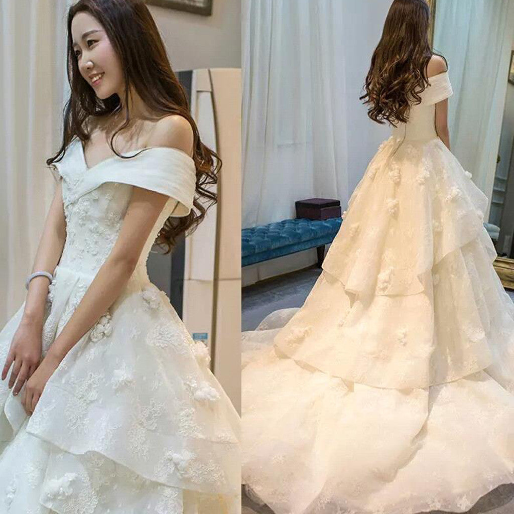Long A-line Off Shoulder Glamorous Floor-Length Princess Lace Ruffles Wedding Dresses, WD0090