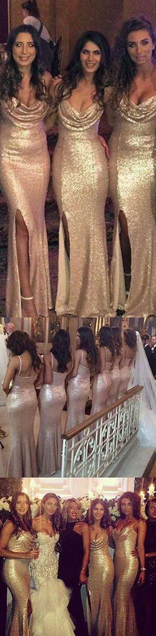 Sexy Sparkly Sequin Mermaid Side Split Cowl Spaghetti Strap Long Wedding Party Bridesmaid Dresses, WG26