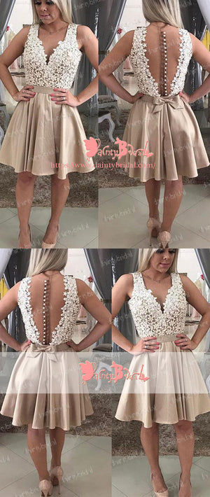 Charming V-neck See Through Back Lace Button Knee Length Elegant  Homecoming Dresses,BD0144