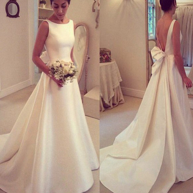 Elegant A-line Simple Sleeveless Deep V Back Cute Detachable Bow Knot Sweep Train Wedding Dresses, DB0113