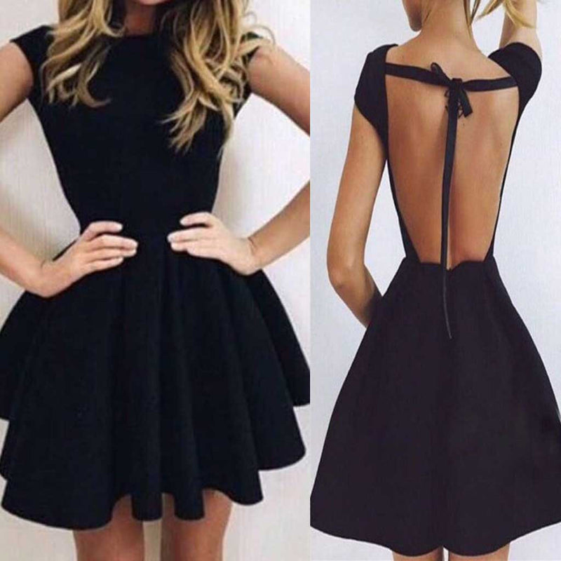 Cheap Cap Sleeve Black Full Open Lace Up Back Unique Sexy Charming Homecoming Prom Dress,BD0024