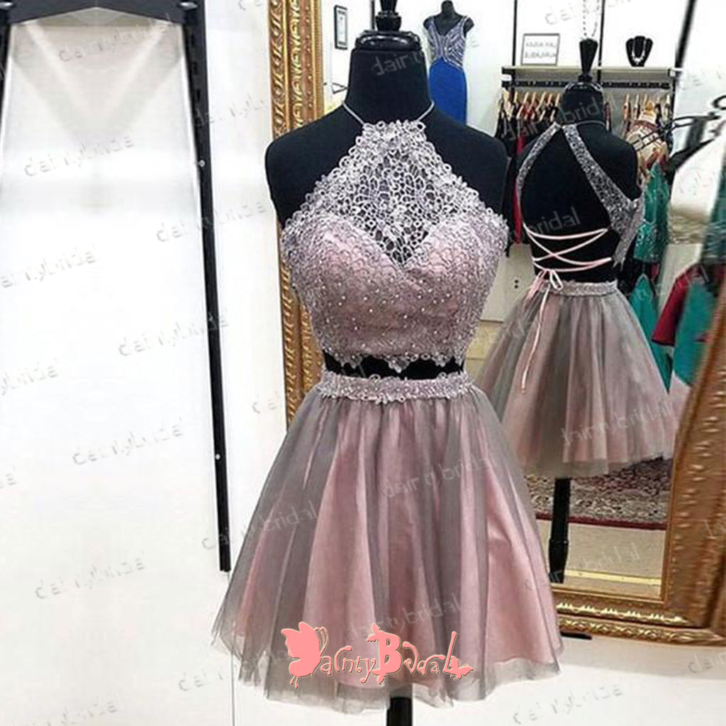Two Pieces Halter Purple Lace Beading  Lace Up Back Junior Charming Homecoming Dresses,BD0145