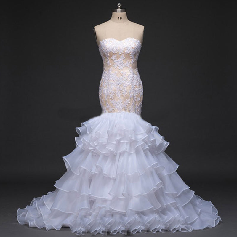 Sweetheart Strapless White lace Appliques Sexy Mermaid Chiffon Ruffles Tiered Skirts  Wedding Party Dresses, WD0026