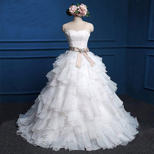 Cute Sweetheart Strapless Lace Up Back Chiffon Ruffles Satin Sash  Ball Gown Wedding Dress, WD0027