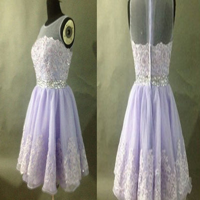 Short Vintage Clairvoyant Outfit Lace Appliques Sleeveless Light Purple Homecoming Prom Dress,BD0027