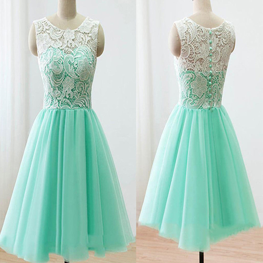 Lovely Mint Lace Round Neckline Fake Two-piece Knee Length  Homecoming Prom Bridesmaid Dress,BD0028