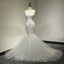 Sweetheart Strapless Lace Appliques Sexy Mermaid Lace Up Back Tulle Chapel Trailing Wedding Party Dresses, WD0028