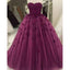 Burgundy Appliques Sweetheart Strapless Floor-Length Unique Charming Ball Gown Wedding Dresses, WD0205