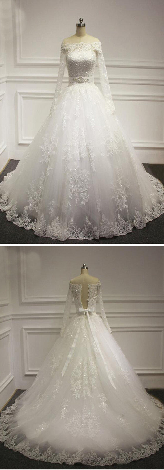 Vintage Sabrina Neck Long Illusion Sleeve White Lace Up Back Beads Ball Gown Wedding Party Dresses, WD0029