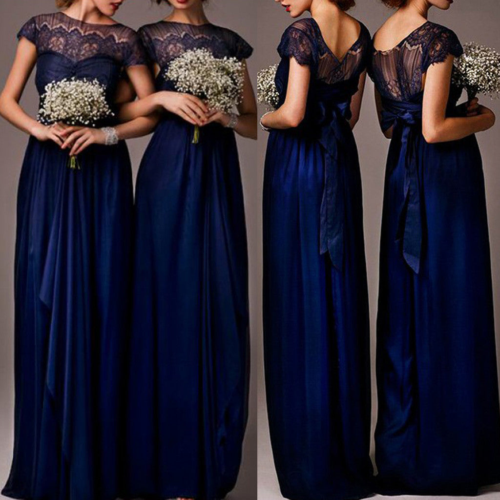 Elegant Royal Blue Cap Sleeve  Empire Waist  Top Clairvoyant Outfit Lace  Long Column Bridesmaid Dresses, WG030