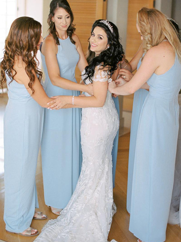 Beautiful Halter Sleeveless Floor-length Evening Dresses Party Long Bridesmaid Dresses.DB10677