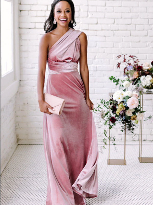 Vintage One Shoulder Simple Velvet Long Evening Dresses Bridesmaid Dresses.DB10717