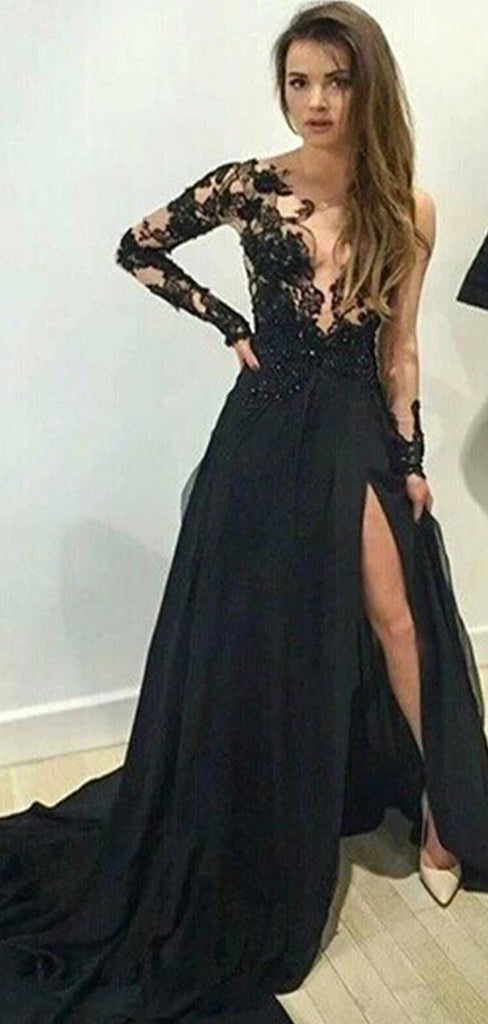 Long Sleeve Deep V-neck  Black Lace High Split Side Long A-line Sexy Charming Prom Dress , PD0013