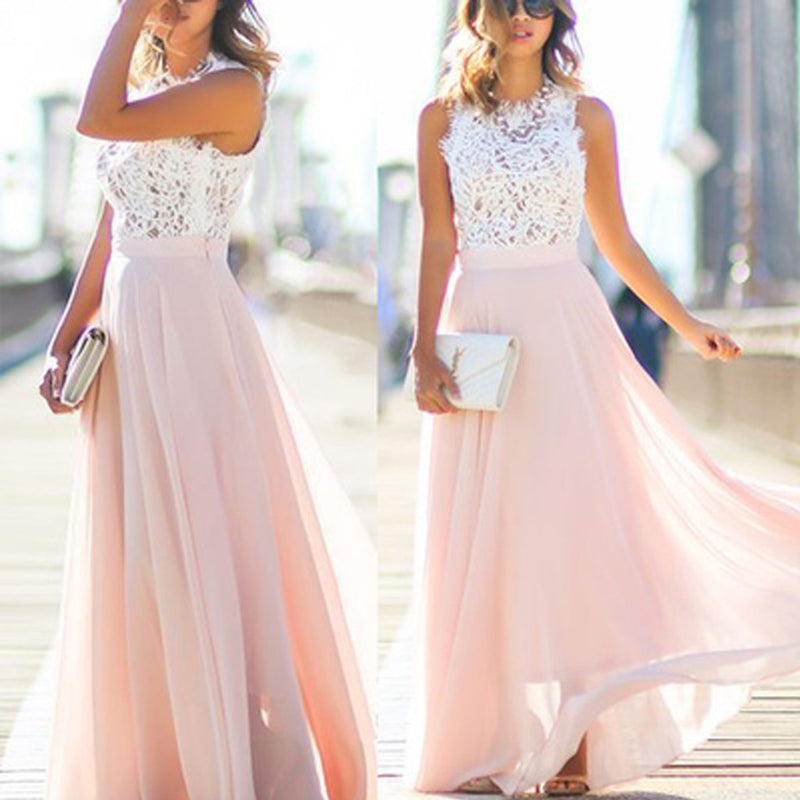 Junior Unique Long Prom Dress White Lace Top Blush Pink Chiffon Sleeveless A-line Bridesmaid Dresses, WG03