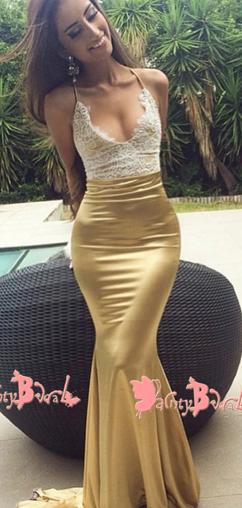 Sexy Spaghetti Strap Halter Mermaid Gorgeous White Lace Gold Long Prom Gown Dresses. DB1049