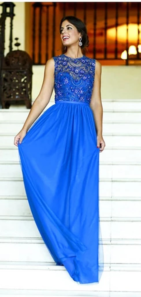 Elegant Sparkly Scoop Neck Sleeveless Long Prom Dresses,PD0120