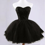 Lovely Black Lace Beads Strapless Sweetheart Juliet Tulle Skirt Mini Homecoming Prom Dresses, CM0024